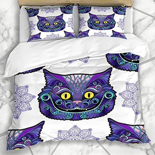 Zozun Duvet Cover Sets Mammal Wonderland Cheshire Cat Head Fairy Tale Alice Delicate Elegance Face Line Design Wild Microfiber Bedding with 2 Pillow Shams
