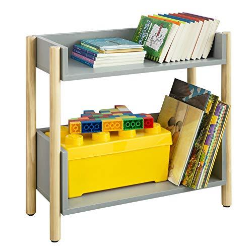 SoBuy KMB28-HG Kinder Bücherregal Kinderregal mit 2 Ablagen Aufbewahrungsregal für Kinder Spielzeug-Organizer Kinderzimmerregal Grau BHT ca.: 60x56x25cm