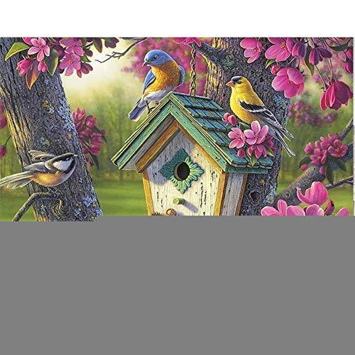 5D-DIY schilderij om zelf te maken, warm vogelhuisje voor volwassenen, kinderen, handgemaakt, met diamantschilderij, borduurset hinestone borduurwerk, huisdecoratie, vierkante boren JU379 30x40cm