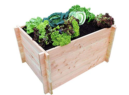 GrünerGarten Hochbeet GRÖN - Premiumqualität, Bio Douglasie Blockbohlen, sehr robust, sehr einfacher Aufbau ohne Werkzeug, völlig schadstofffrei (M-80)