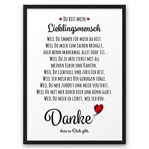 DANKE Liebeserklärung Danksagung ABOUKI Kunstdruck Geschenk-Idee für Sie Ihn Frauen Männer Freund Freundin Liebes-Paar - ungerahmt DIN A4