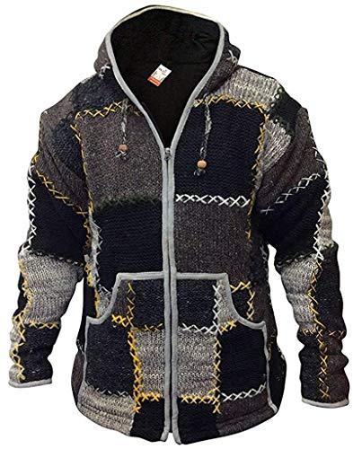 Shopoholic Fashion De Lana Hombres Patchwork súpercálido Chaqueta - Multi, Small