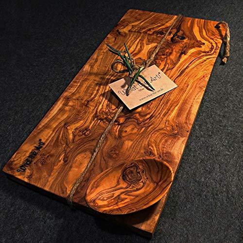 What the Art!® Olive Wood «Karo» Gr. L | Olivenholz Schneidebrett inkl. Dip-Schälchen + Geschenk | ca. 35 x 16 x 2 cm | Käsebrett - Hackbrett - Tranchierbrett - Servierbrett