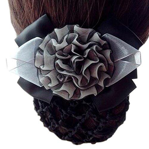 Barrette de dames Barre de cheveux à la main Bouchon à fleurs Coque Snood Coffret à cheveux, Noir