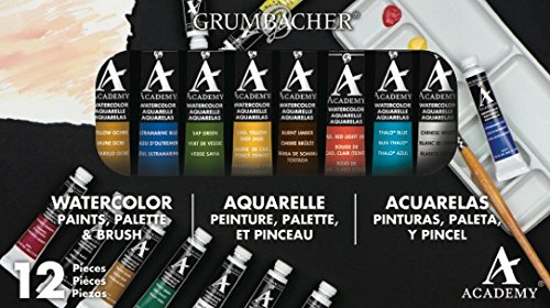 Grumbacher Academy Watercolor Paint, 7.5ml/0.25 oz. Tube, 10-Color Set