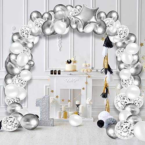 Sliver Balloon Arch Kit,AivaToba 93PCS Sliver Birthday Party Decorations Wedding Balloons Garland Kit and Confetti White Balloons with Tape Strip & Dot Glue for Girl Boy Men Woman