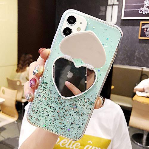 AAA&LIU Funda de teléfono con Soporte de Espejo de Lentejuelas para iPhone 11 Pro MAX Funda XR XS MAX 8 7 6 6S Plus SE Funda Funda Coque, 4, para iPhone X XS