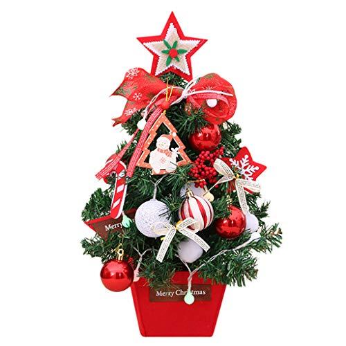Zuhause Weihnachtsdeko Weihnachtsbaum mit Beleuchtung Funkelnde Anhänger Festliche Büros Klassenzimmer Tischdeko Tannenbaum Mini-LED- Stimmungslicht Weihnachtsschmuck Fotografie Requisiten (Weiß)