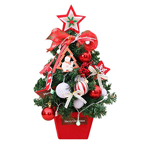 Fine Portable Mini Christmas Tree with Ornaments, Tabletop Artificial Holiday Tree Decor with LED Lights, Best DIY Christmas Decorations (White)