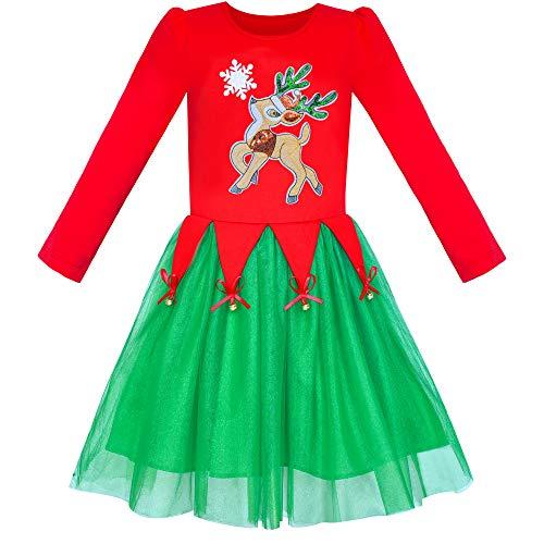 Vestido para niña Navidad Reno Cascabel Manga Larga 6 años