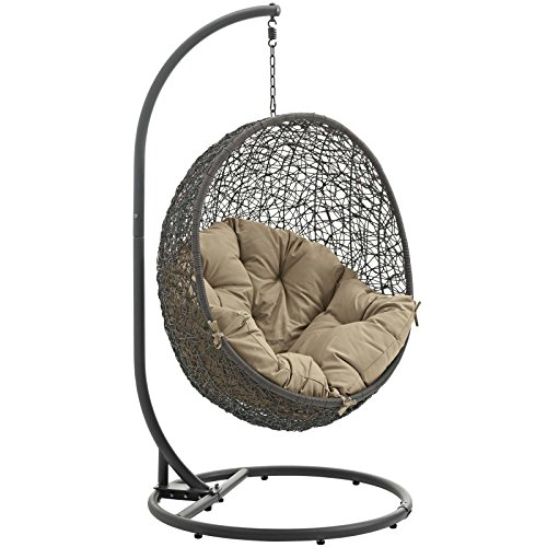Modway EEI-2273-GRY-MOC Hide Wicker Rattan Outdoor Patio Porch Lounge Egg Swing Chair Set, With Stand, Gray Mocha