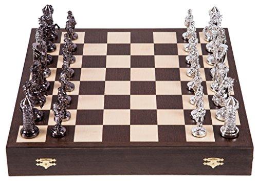 Square - Ajedrez de Madera - Medieval - Silver Edition - Tablero de ajedrez - Wenge