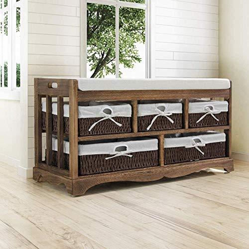 MYYINGELE Shabby Chic Storage Unit Bench Hallway Shoe Organizer Seat Brown - Approx 78 x 36 x 45 cm - 5 Wicker Baskets Drawers Cabinet Rack