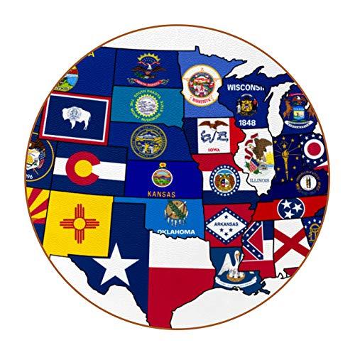 Bennigiry Juego de 6 posavasos con impresión de mapa de América para el hogar, taza, café, cerveza