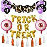 SHLMO Juego de cartas de truco o trato de Halloween juego de trombos de aluminio de película globo de Halloween decoración del alfabeto de Halloween murciélago conjunto