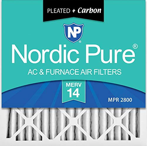 Nordic Pure 24x24x2 MERV 14 Pleated Plus Carbon AC Furnace Air Filters 3 Pack