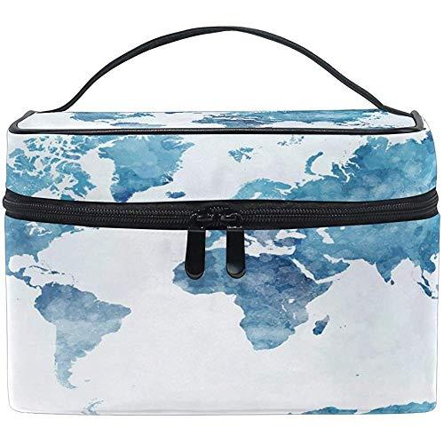 Blue World Map Women Travel Makeup Bag Portable Cosmetic Train Case Trousse de toilette Beauty Organizer (10 Design)