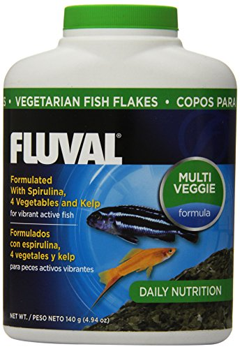 Fluval Vegetarian Flakes Fish Food, 4.94-Ounce, 140gm
