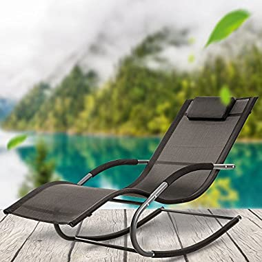 LUCKUP Outdoor Recliner Pool Chaise Patio Rocking Wave Lounger Chair with Pillow,Black