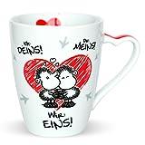 Sheepworld 45183 Kaffee-Tasse mit Spruch Ich Deins, Du Meins, Wir Eins, Porzellan, 30 cl, Geschenk-Tasse mit Liebesmotiv