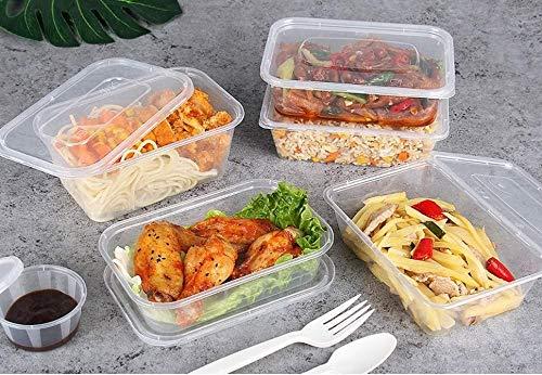 Z-Enterprise: Confezione da 50 contenitori per alimenti in plastica da 650 ml, senza BPA, riutilizzabili con coperchi per microonde, congelatore e lavastoviglie