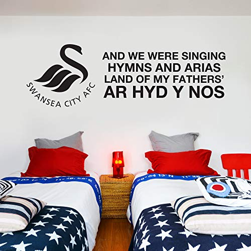 Swansea City Football Club Official Crest & Land of My Father's Song Wall Sticker Decal (120cm x 40cm, White)