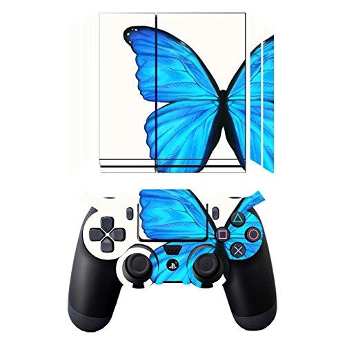 Disagu SF-sdi-3645_1271 Displayschutzfolie für Sony PS4 liegend mit Controller Design - Motiv Blauer Schmetterling Klar