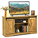 Tangkula Sliding Barn Door TV Stand for TV up to 65 Inches, Farmhouse Entertainment Center with Adjustable Storage Shelves, Cable Holes, Media Console for Living Room Bedroom, Golden Oak