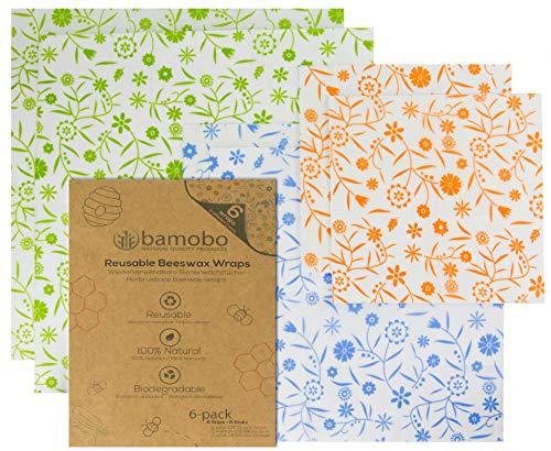 Bamobo [6X] Bio Bienenwachstücher für Lebensmittel - Bio Bees Wrap Wachspapier - Beeswax Wrap - Frischhaltefolie Wiederverwendbar - Nachhaltige Plastikfreie Produkte