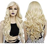 Ebingoo 28 inches Platinum with bangs blonde wig with bangs blonde wig synthetic Glueless with bab with Baby Hair Blonde Wigs with Long Body Wavy Synthetic Wig for Women for dairly wear for cosplay