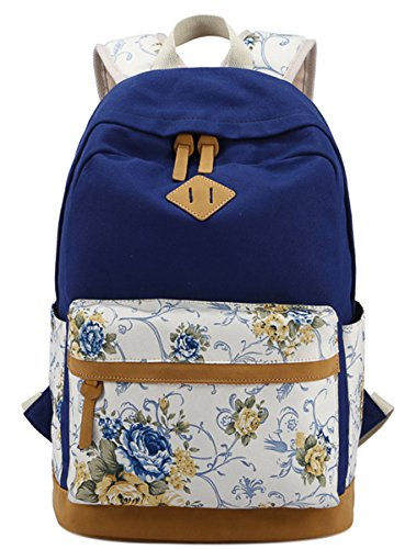 Panegy Damen Mädchen Mode Design Rucksack Bulemendruck-Art Canvas Reisen Rucksack Schulrucksack für Schüler Freizeit Outdoor Sport Backpack - Dunkelblau