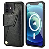 ZVEdeng Wallet Case for iPhone 12 Pro/iPhone 12 Compatible with Magsafe Wireless Charger Magnetic Wireless Charging, Credit Card Holder Case for iPhone 12/12 Pro Flip Case-Black
