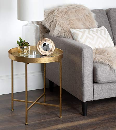 Kate and Laurel Celia Round Metal Side Table, 18.25x18.25x22, Gold
