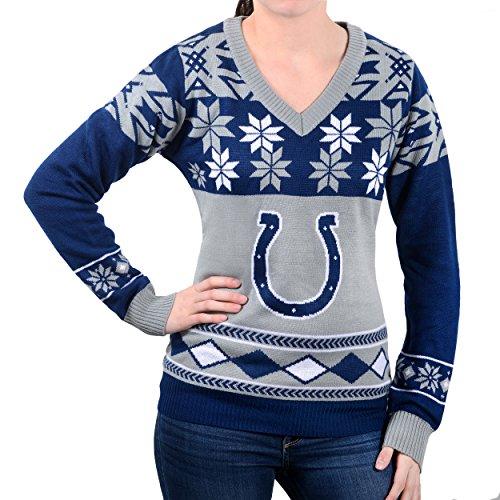FOCO Indianapolis Colts Damen Pullover mit großem Logo, V-Ausschnitt, Größe M