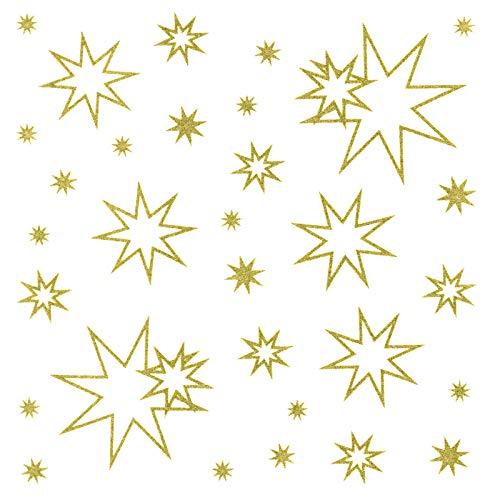 dpr. Fensterbild Set 31-TLG. Sterne Gold Fenstersticker Weihnachtsdeko Fensterdeko Weihnachten