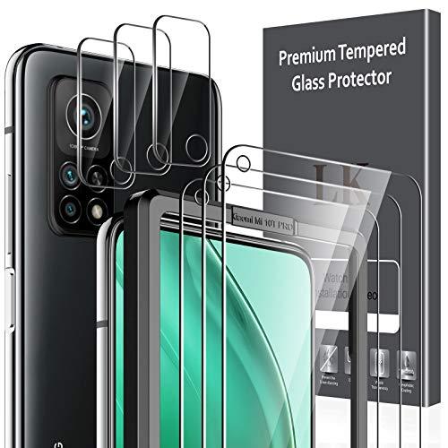 LK 6 Pack Protector de Pantalla Compatible con Xiaomi Mi 10T 5G/10T Pro 5G,Contiene 3 Pack Cristal Vidrio Templado y 3 Pack Protector de Lente de cámara, Doble protección,Marco de Posicionamiento