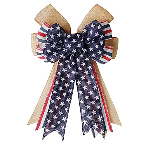 bubl Fourth of July Decor Patriotic Wreath Bow, Red White and Blue Star Burlap Bow Large Topper Bows Holiday Bow for Memorial Day, 4th of July, Independence Day Indoor Outdoor Decorations (B)