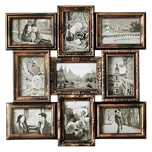 DL furniture - 9 Opening Decorative Wall Hanging Collage Puzzle Picture Photo Frame, 4 x 6 inches | Bronze
