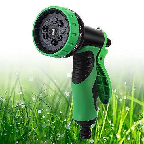 OOWOLF Gartenbrause, Gartenbrause Rasen mit 9 Mustern, Gartenschlauchdüsen Hochdruck Rutsch beständige Ergonomische Design Gartenbrause für Bewässerung, Waschauto und Duschen Haustiere, grün
