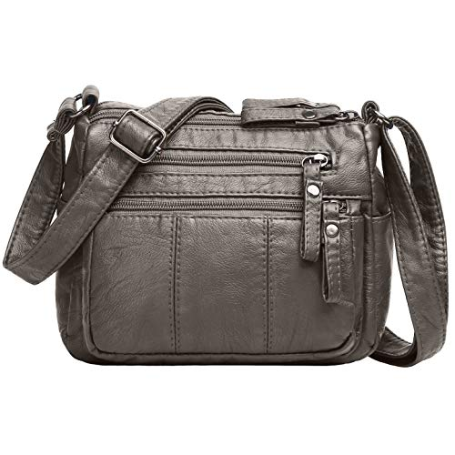 High quality washed PU leather,soft,comfortable,light weight. Don't let the compact design of this crossover messenger bag fool you. There are two main bag(inside pockets: 1 back wall zip pocket)outside the bag there're 3 zippered pockets and 2 besid...