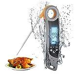 MOSRACY Termometro Cucina Digitale Termometro per Alimenti,Lettura Istantanea Impermeabile IPX6 Pieghevole con Magnete Lunga 10.6cm Termometro Sonda per Barbecue Cucinare Latte Cibi Surgelati