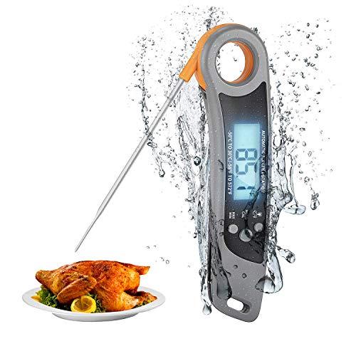 MOSRACY Fleischthermometer Grillthermometer Digital Küchenthermometer, IPX6 Wasserdicht Sofortiges Auslesen Faltbares Bratenthermometer mit Magnet für Braten, BBQ, Dessert, Steak, Baby-Ernährung