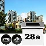 Luci per porte con numero civico ad energia solare, LTXDJ placche moderne con numero di porta con luce a LED, 3 serie di numeri 0-9 e 1 serie di lettere A-G.