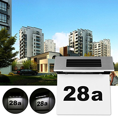 LED Türplatte Nummer Licht, MOSINITTY Solar Power Hausnummer Plaketten Licht Wasserdichter Lichtsensor Digitale Tür Nummer Licht Wandtafel Licht für den Außenbereich
