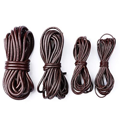 FLOFIA 20Yard Cuerda de Cuero Piel Redonda 1.5mm/2mm/3mm/4mm Cordón Tira Hilo de Cuero para Pulsera Colgante Collares Manualidades Abalorios DIY Bisutería Joyas (4 Anchuras Diferentes, Marrón Oscuro)
