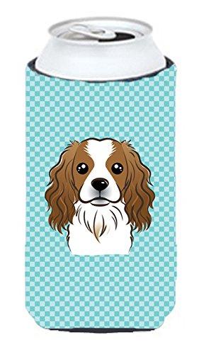 Checkerboard Bleu Cavalier spaniel Tall Boy Koozie Hugger Bb1162tbc