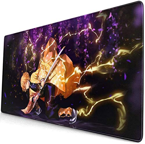 Anime Demon Slayer Large Gaming Mouse Pad XL Size (800x400mm) Extended Mouse Mat/Desk Pad with Non-Slip Rubber Base, Special-Textured Surface for Keyboard and Mouse (A)