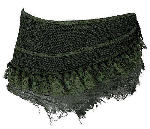 Guru-Shop Goa Cacheur mit Spitze, Minirock, Wickelrock Gürtel, Damen, Tannengrün, Baumwolle, Size:L (40), Röcke/Kurz Alternative Bekleidung