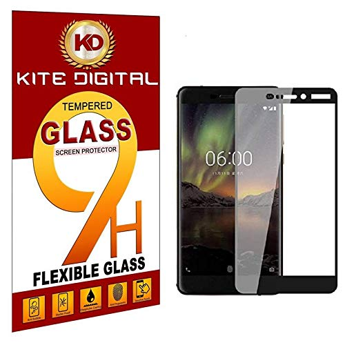 Kite Digital Compatible with Nokia 6.1 (2018) 5D Premium Tempered Glass Screen Protector Slim 9H Hard 2.5D