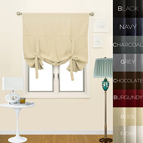 Prestige Home Fashion Thermal Insulated Blackout Tie-Up Window Shade - Rod Pocket - Beige - 42